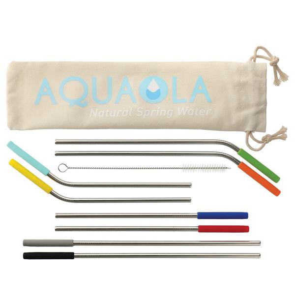 Ensemble de pailles réutilisables avec brosse et pochette