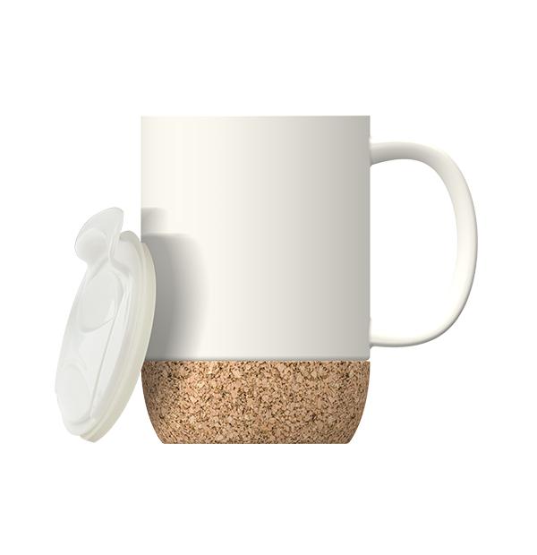 Tasse en céramique avec couvercle et base en liège 12 OZ (355 ML)