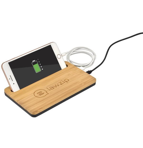 Chargeur avec ou sans fil en bambou,