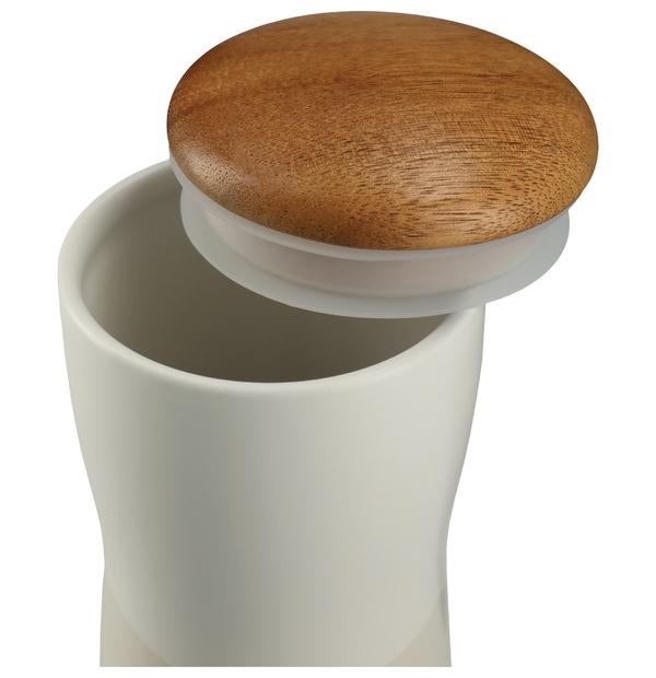 Bouteille double paroi en céramique avec couvercle en bois 10OZ (300 ML)