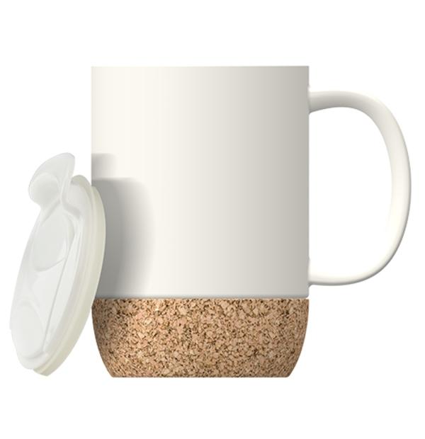 Tasse en céramique avec couvercle et base en liège 16 OZ (475 ML)